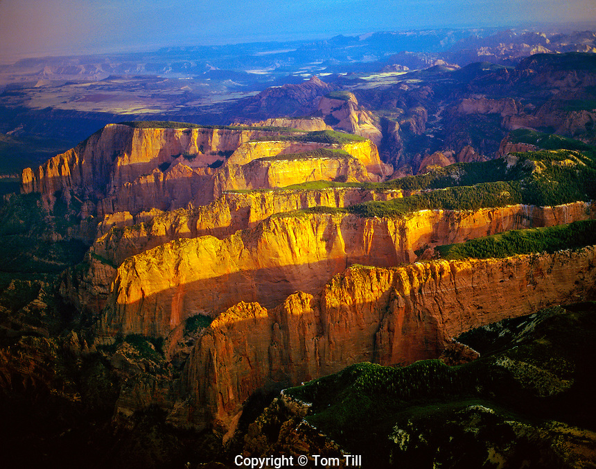 Kolob Finger Canyons, Zion National Park, Utah, aerial view, Kolob section, sunrise, July