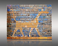 Coloured glazed brick panels depicting the mythical composite animal has the head and the body of a snake, the front legs of a lion, the hind legs of a bird and a scorpion sting in the tail the symbol of the city God Marduk. From the facade of the  first smaller Ishtar Gate, Babylon, dating from 604-562 BC. Babylon (present day Iraq). The Ishtar Gate, Babylon, was situated in the northern wall of the city and was named after the goddess Ishtar. The ground plan and debris of the gate buildings were uncovered during the German excavation from 1899-1917 directed by Robert Koldewey. The Vorderasiatisches Museum, part of the Pergamon Museum, Berlin