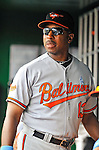19 June 2011: Baltimore Orioles' Bench Coach Willie Randolph watches play from the dugout during a game against the Washington Nationals on Father's Day at Nationals Park in Washington, District of Columbia. The Orioles defeated the Nationals 7-4 in inter-league play, ending Washington's 8-game winning streak. Mandatory Credit: Ed Wolfstein Photo