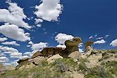 Rock formations known as Hoodoos, The Badlands, Dinosaur Provincial Park, Alberta, Canada