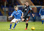St Johnstone v Kilmarnock...07.11.15  SPFL  McDiarmid Park, Perth<br /> David Wotherspoon gets around Kevin McHattie<br /> Picture by Graeme Hart.<br /> Copyright Perthshire Picture Agency<br /> Tel: 01738 623350  Mobile: 07990 594431