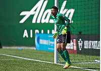 Portland, OR - Saturday April 15, 2017:  Adrianna Franch during a regular season National Women's Soccer League (NWSL) match between the Portland Thorns FC and the Orlando Pride at Providence Park.