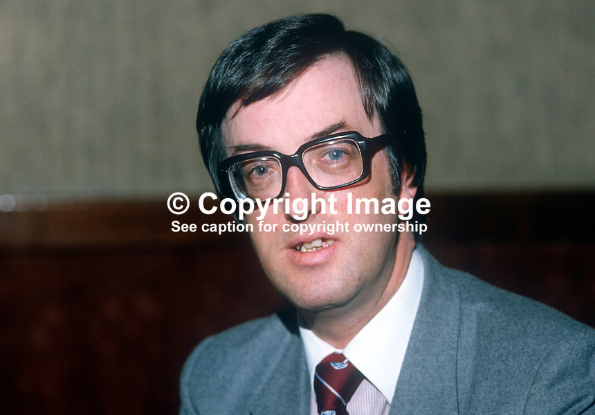 Hugh Miskelly, official, trade unionist, N Ireland, COHSE, Confederation of Health Service Employees. 198204000028HM<br /> <br /> Copyright Image from Victor Patterson, 54 Dorchester Park, Belfast, UK, BT9 6RJ<br /> <br /> Tel: +44 28 9066 1296<br /> Mob: +44 7802 353836<br /> Voicemail +44 20 8816 7153<br /> Skype: victorpattersonbelfast<br /> Email: victor@victorpatterson.com<br /> Email: victorpatterson@me.com (back-up)<br /> <br /> IMPORTANT: If you wish to use this image or any other of my images please go to www.victorpatterson.com and click on the Terms &amp; Conditions. Then contact me by email or phone with the reference number(s) of the image(s) concerned.