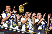 Los Angeles Galaxy fans during the 1st leg of the Major League Soccer (MLS) Western Conference Semifinals against the New York Red Bulls at Red Bull Arena in Harrison, NJ, on October 30, 2011.