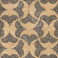 Acadia, a hand cut natural stone mosaic, is shown in Giallo Reale and  Emperador Dark.