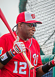 3 March 2016: Washington Nationals Manager Dusty Baker watches his team take batting practice prior to a Spring Training pre-season game against the New York Mets at Space Coast Stadium in Viera, Florida. The Nationals defeated the Mets 9-4 in Grapefruit League play. Mandatory Credit: Ed Wolfstein Photo *** RAW (NEF) Image File Available ***