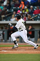 First baseman Dash Winningham (34) of the Columbia Fireflies hits in a game against the Augusta GreenJackets on Opening Day, Thursday, April 6, 2017, at Spirit Communications Park in Columbia, South Carolina. (Tom Priddy/Four Seam Images)