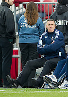 Sporting KC manager Peter Vermes watches his team during an MLS game between Sporting Kansas City and the Toronto FC at BMO Field in Toronto on June 4, 2011..The game ended in a 0-0 draw...