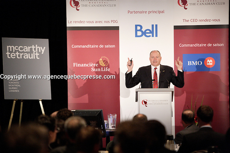 Montreal  (Quebec) CANADA - Monday, November 28, 2011 -  Yvon Bolduc, President and CEO of Fonds de solidarit&eacute; FTQ <br /> annonce a major investment while speaking at the Canadian C<br />  lub of Montreal's podium