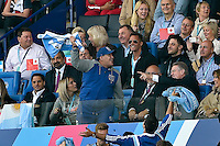 Former Argentina footballer Diego Maradona celebrates a try from the stands. Rugby World Cup Pool C match between Argentina and Tonga on October 4, 2015 at Leicester City Stadium in Leicester, England. Photo by: Patrick Khachfe / Onside Images