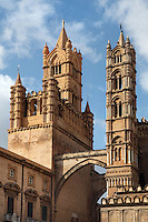 14th century campaniles (bell towers), the Duomo (Cathedral) of Palermo, Sicily, Italy. 12th century cathedral encompassing a wide variety of architectural styles from Romanesque to Byzantine. Picture by Manuel Cohen