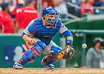 15 June 2016: Chicago Cubs catcher Miguel Montero in action against the Washington Nationals at Nationals Park in Washington, DC. The Cubs fell to the Nationals 5-4 in 12 innings, giving up the rubber match of their 3-game series. Mandatory Credit: Ed Wolfstein Photo *** RAW (NEF) Image File Available ***