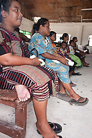Religion is an important part of Marshallese culture. Women gather in church on Sunday.