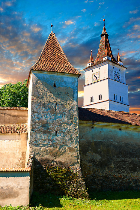 The medieval fortified church of Harman. A Romaneque church started in 1240 by the Cistercian monks with Gothic elements of architecture .Harman, Braşov, Transylvania. UNESCO World Heritage Site.