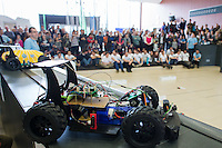 Robotic car is seen during the RobonAut technical university race for self driving autonomous cars in Budapest, Hungary on January 10, 2015. ATTILA VOLGYI
