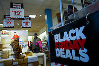 A man attends the Black Friday sales events in Jersey City, NJ.  11/27/2015. Eduardo MunozAlvarez/VIEWpress
