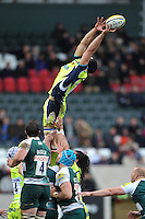 Josh Beaumont of Sale Sharks looks to gather the ball at a lineout. Aviva Premiership match, between Leicester Tigers and Sale Sharks on February 6, 2016 at Welford Road in Leicester, England. Photo by: Patrick Khachfe / JMP