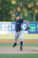 Wilmington Blue Rocks pitcher A.J. Puckett (19) on the mound during a game against the Myrtle Beach Pelicans at Ticketreturn Field at Pelicans Ballpark on April 26, 2017 in Myrtle Beach, South Carolina. Myrtle Beach defeated Wilmington 7-3. (Robert Gurganus/Four Seam Images)