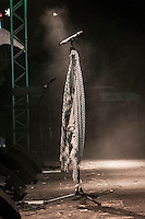 August 27, 2014 - Binyamina, Haifa District, Israel: A microphone worn with a Palestinian scarf is seen during a concert by Orphaned Land heavy metal band in Binyamina Amphitheatre at north of Israel. Orphaned Land is a music band founded by Jewish and Arabian musicians who combine ethnic music with rock metal as they recite verses in Hebrew and Arabic from the sacred Quram and Tora Scriptures. (Narciso Contreras/Polaris)