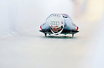 18 November 2005: Tania Morel of Switzerland slides down the track to take 9th place at the 2005 FIBT World Cup Women's Skeleton competition at the Verizon Sports Complex, in Lake Placid, NY. Mandatory Photo Credit: Ed Wolfstein.