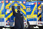 A grim reaper places his hand on an ambulance at an Every 15 Minutes event at Mountain View High School April 17.