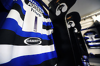 A general view of Grant UK branding on a Bath Rugby matchday jersey. Aviva Premiership match, between Bath Rugby and Newcastle Falcons on September 10, 2016 at the Recreation Ground in Bath, England. Photo by: Patrick Khachfe / Onside Images