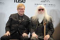 Elton John and Leon Russell at the 26th annual Rock and Roll Hall of Fame Induction Ceremony at The Waldorf=Astoria  in New York City. March 14, 2011 © mpi01 / MediaPunch Inc.
