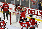 Mar 17, 2009; Newark, NJ, USA; New Jersey Devils goalie Martin Brodeur (30) waves to the fans after the Devils defeated the Blackhawks 3-2.  With the win, Martin Brodeur became the all-time winningest goalie in NHL history with his 552 win.