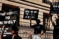 """protesters from civil rights groups walked during a silent march to end the """"stop-and-frisk"""" program in New York June 17, 2012.  Photo by Kena Betancur / VIEWpress.."""