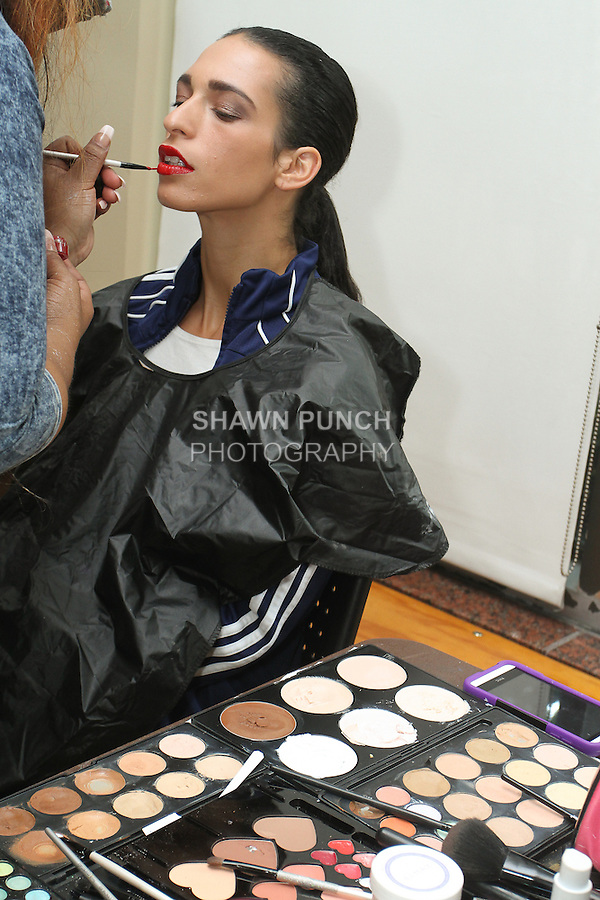 Backstage image from Fashion Week Brooklyn Fall Winter 2015 day two on June 26, 2015.