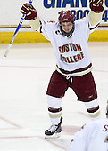 Cam Atkinson (BC - 13) celebrates his eleventh goal of the season which opened scoring in the game. - The Boston College Eagles defeated the Providence College Friars 4-1 on Tuesday, January 12, 2010, at Conte Forum in Chestnut Hill, Massachusetts.