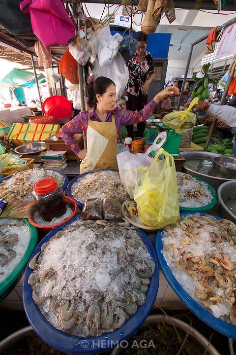 Phnom Penh, Cambodia. Central Market. Seafood.