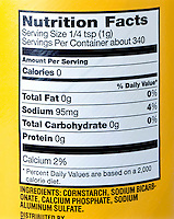 BAKING POWDER LABEL<br /> (Variations Available)<br /> A chemical compound composed of sodium bicarbonate, calcium phosphate, sodium aluminum sulfate