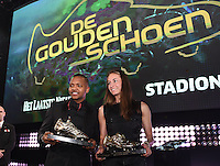 20170208 – LINT ,  BELGIUM : winners of the Golden Shoe 2017 JOSE IZQUIERDO and TESSA WULLAERT pictured during the  63nd men edition of the Golden Shoe award ceremony and 1st Women's edition, Wednesday 8 February 2017, in Lint AED studio. The Golden Shoe (Gouden Schoen / Soulier d'Or) is an award for the best soccer player of the Belgian Jupiler Pro League championship during the year 2016. The female edition is a first in Belgium.  PHOTO DIRK VUYLSTEKE   Sportpix.be