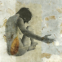 Female figure on leaf paper.