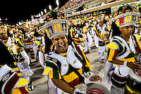 The drums section of a samba school performs during the Carnival Access Group parade at the Sambadrome in Rio de Janeiro, Brazil, 19 February 2012. The Carnival in Rio de Janeiro, considered the biggest carnival in the world, is a colorful, four day celebration, taking place every year forty days before Easter. The Samba school parades, featuring thousands of dancers, imaginative costumes and elaborate floats, are held on the Sambadrome, a purpose-built stadium in downtown Rio. According to costumes, flow, theme, band music quality and performance, a single school is declared the winner of the competition.