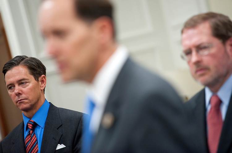 """UNITED STATES - APRIL 16:  Faith & Freedom Coalition Director Ralph Reed; House Ways and Means Chairman Dave Camp, R-Mi.; and Grover Norquist, president of Americans for Tax Reform, speak at a Americans for Tax Reform 2012 """"Tax Day Eve"""" news conference. (Photo By Chris Maddaloni/CQ Roll Call)"""