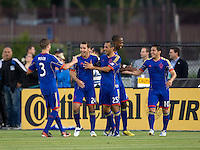 Nathan Sturgis of Rapids celebrates with the teammates after scoring a goal during the first half of the game against the Earthquakes at Buck Shaw Stadium in Santa Clara, California on May 18th, 2013.  San Jose Earthquakes tied Colorado Rapids, 1-1.