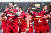 Picture by Alex Whitehead/SWpix.com - 19/03/2017 - Rugby League - Betfred Super League - Salford Red Devils v Castleford Tigers - AJ Bell Stadium, Salford, England - Salford's Ben Murdoch-Masila (L) and Rob Lui (R) celebrate the win.