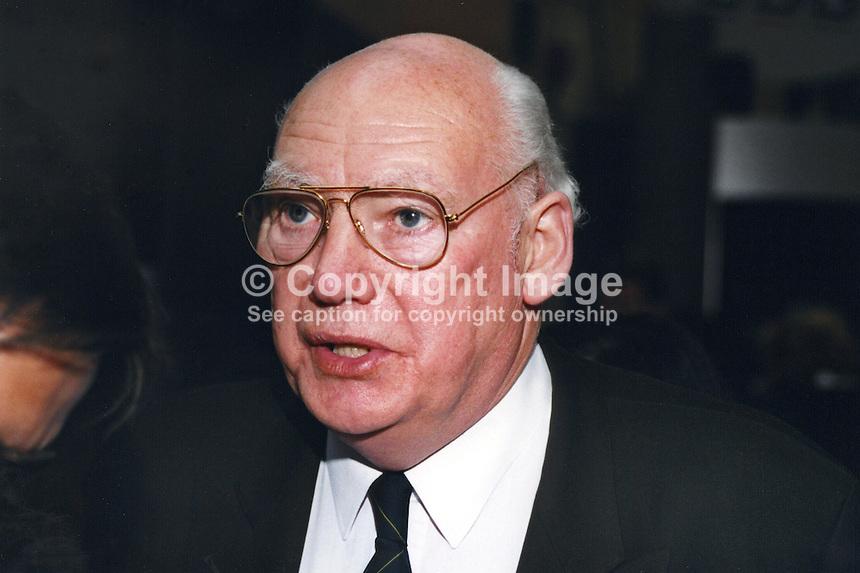 Jimmy Knapp, union leader, NUR, National Union of Railwaymen, UK, 19961008JK.<br /> <br /> Copyright Image from Victor Patterson, 54 Dorchester Park, Belfast, UK, BT9 6RJ<br /> <br /> t1: +44 28 9066 1296<br /> t2: +44 28 9002 2446<br /> m: +44 7802 353836<br /> <br /> e1: victorpatterson@me.com<br /> e2: victorpatterson@gmail.com<br /> <br /> www.victorpatterson.com<br /> <br /> IMPORTANT: Please see my Terms and Conditions of Use at www.victorpatterson.com