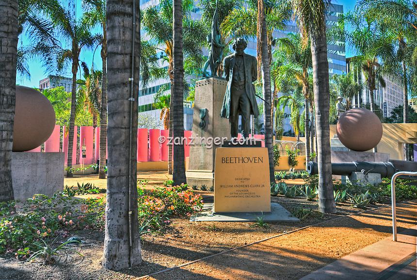 Los Angeles, CA, Pershing Square, Beethoven Bronze Statue, Public Art Display