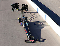 Feb 26, 2016; Chandler, AZ, USA; NHRA top fuel driver Scott Palmer during qualifying for the Carquest Nationals at Wild Horse Pass Motorsports Park. Mandatory Credit: Mark J. Rebilas-