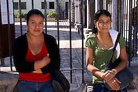 Two young Honduran women in the Spanish colonial town of Gracias, Lempira, Honduras...