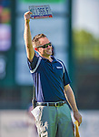 1 September 2013: Vermont Lake Monsters General Manager Nate Cloutier draws a winning entry for a car giveaway during a game against the Connecticut Tigers at Centennial Field in Burlington, Vermont. The Lake Monsters fell to the Tigers 6-4 in 10 innings of NY Penn League action. Mandatory Credit: Ed Wolfstein Photo *** RAW Image File Available ****