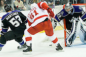 Jonathan Quick (Los Angeles Kings, #32) vs Valtteri Filppula (Detroit Red Wings, #51) during ice-hockey match between Los Angeles Kings and Detroit Red Wings in NHL league, February 28, 2011 at Staples Center, Los Angeles, USA. (Photo By Matic Klansek Velej / Sportida.com)