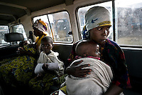 Medicins Sans Frontieres (MSF) transport patients from the Kibati camp for displaced people to the hospital in Goma. Thousands of people have been forced to leave their homes after renewed fighting in the region.