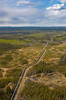 Trans Alaska oil pipeline traverses tundra near Glennallen, southcentral, Alaska.