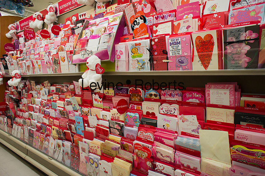 Just in time for Valentine's Day, a store in New York displays a selection of greeting cards to send to your loved ones, seen on Sunday, January 29, 2012.  (© Richard B. Levine)