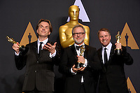 Byron Howard, Rich Moore &amp; Clark Spencer in the photo room at the 89th Annual Academy Awards at Dolby Theatre, Los Angeles, USA 26 February  2017<br /> Picture: Paul Smith/Featureflash/SilverHub 0208 004 5359 sales@silverhubmedia.com