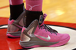 12 February 2012:  Pink Nike sneakers are worn by members of the Redbird team during an NCAA women's basketball game Where the Bradley Braves lost to the Illinois Sate Redbirds 82-63.  It was Play 4Kay day in honor of the cancer research fund set up by Coach Kay Yow at Redbird Arena in Normal IL
